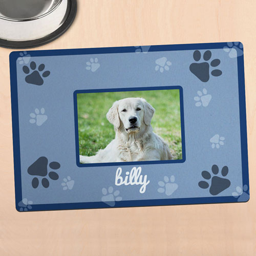 Blue Personalized Photo Meal Mat