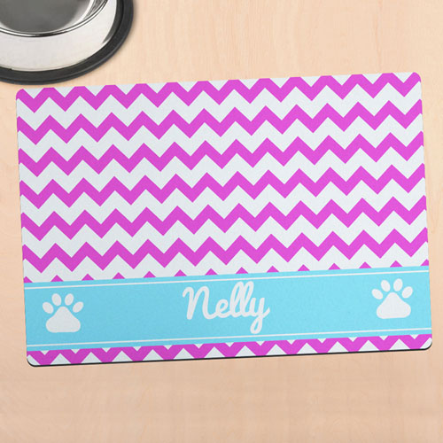 Hot Pink Chevron Personalized Pet Meal Mat