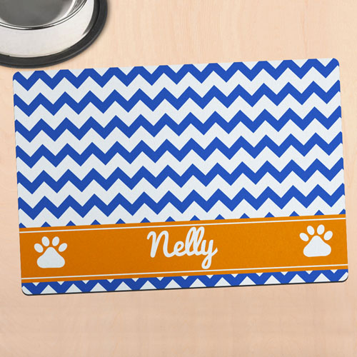 Navy Chevron Personalized Pet Meal Mat