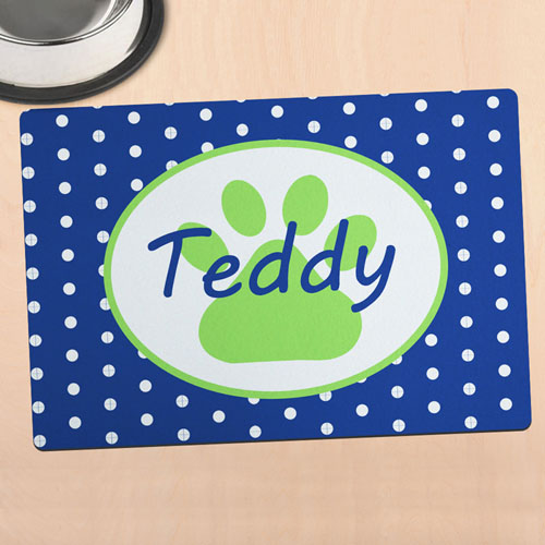 Navy Polka Dot Personalized Paw Meal Mat