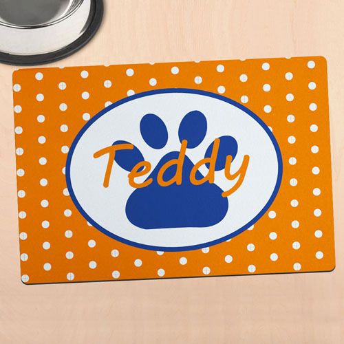 Orange Polka Dot Personalized Paw Meal Mat