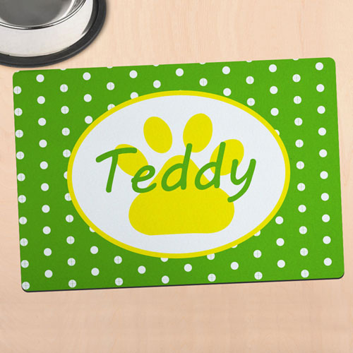 Green Polka Dot Personalized Paw Meal Mat