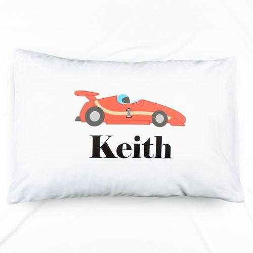 Race Car Personalized Name Pillowcase