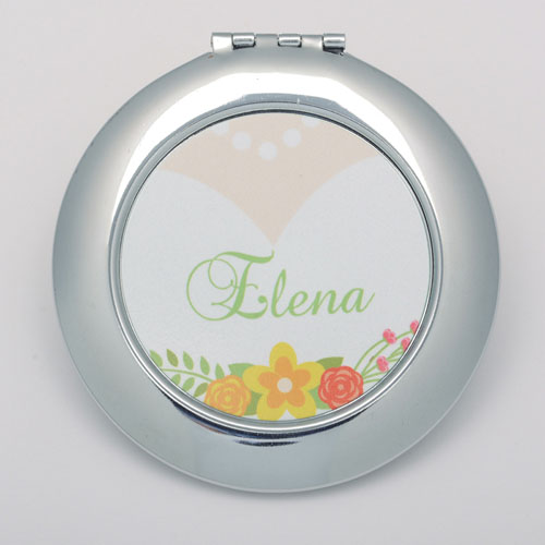 Floral Wedding Personalized Round Compact Mirror
