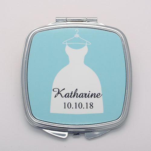 Wedding Dress Personalized Square Compact Mirror