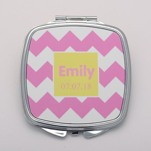 Pink White Chevron Personalized Round Compact Mirror