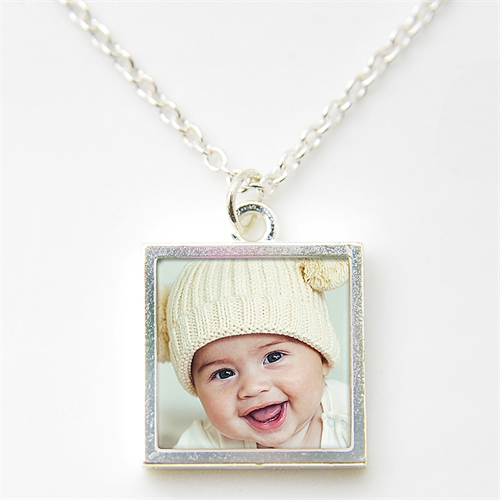 Personalized Silver Plated Photo Necklace Pendant