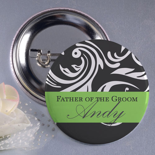 Lime Father Of The Groom Personalized Button Pin, 1