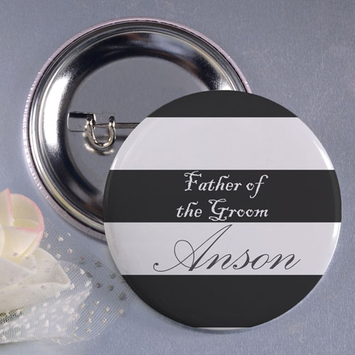 """Stripe Father of the Groom 3"""" Personalized Button Pin"""