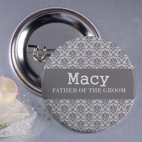 Damask Father Of The Groom Personalized Button Pin, 3