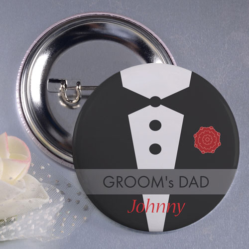 """Tux Father of the Groom 3"""" Personalized Button Pin"""