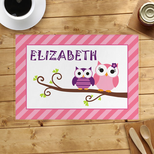 Pink Owl Personalized Placemat