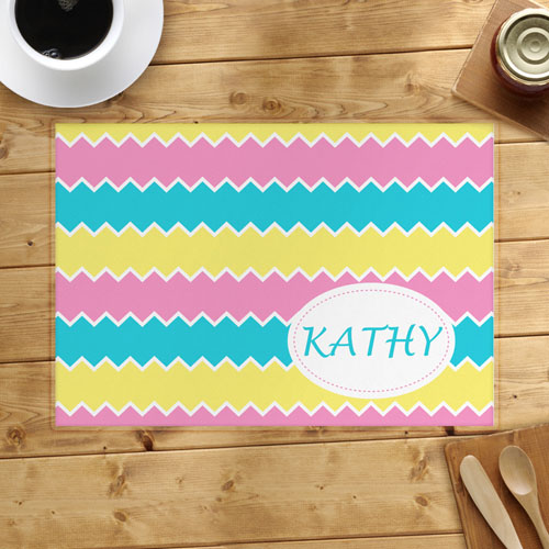Lemon Pink Aqua Personalized Placemat