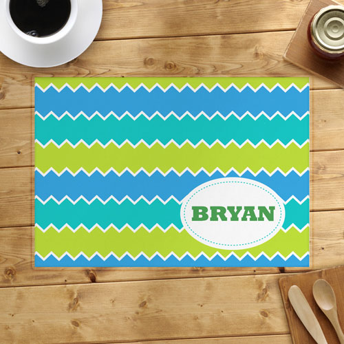 Lime Blue Peacock Personalized Placemat
