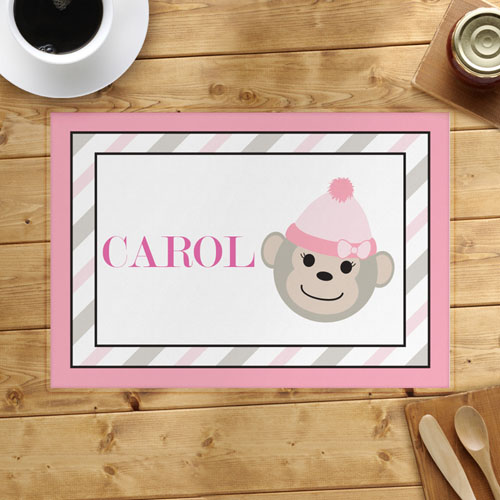 Pink Monkey Personalized Placemat