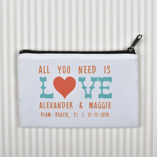 All You Need Is Love Personalized Wedding Cosmetic Bag