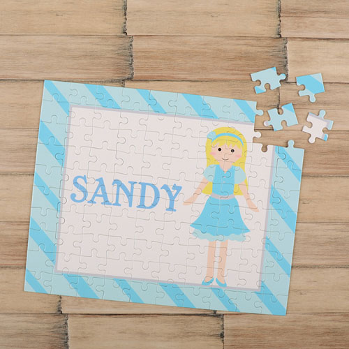 Girl Gold Hair Personalized Kids Puzzle