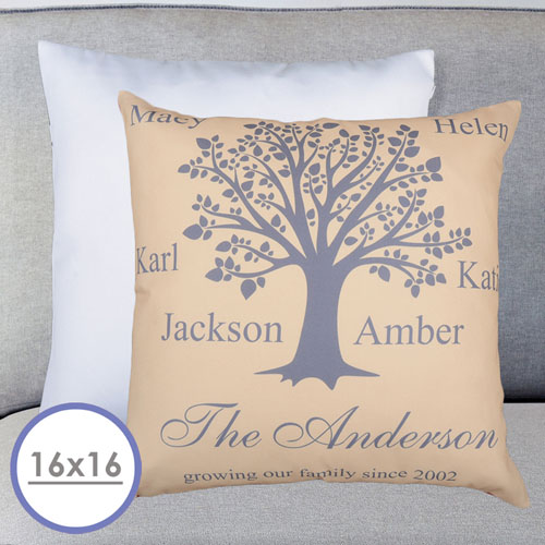 Beige Family Tree Personalized Large Cushion 18