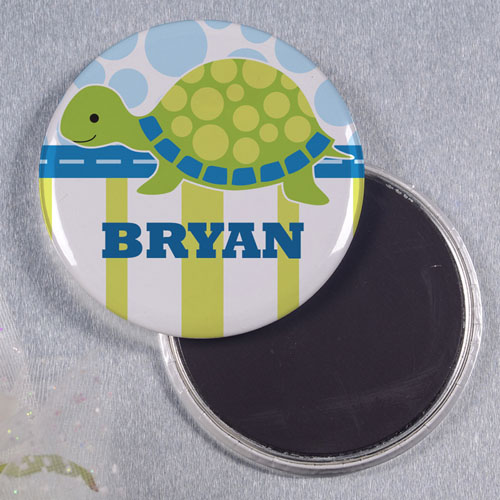 Green Turtle Personalized Round Button Magnet