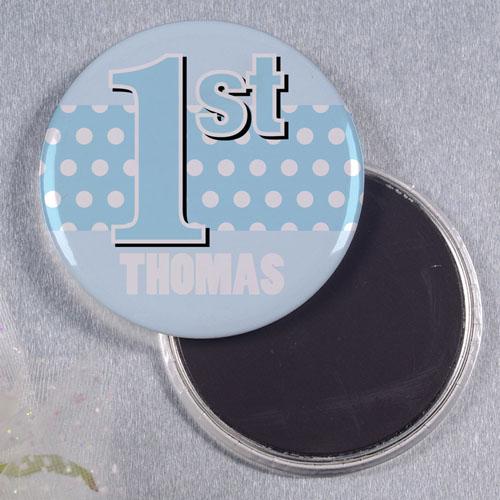 Boy First Birthday Personalized Round Button Magnet
