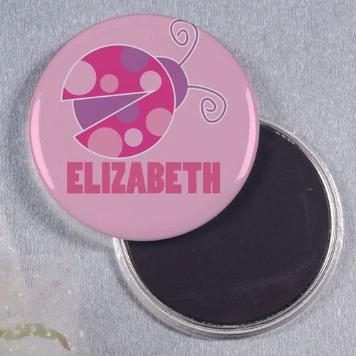 Lady Bug Personalized Round Button Magnet