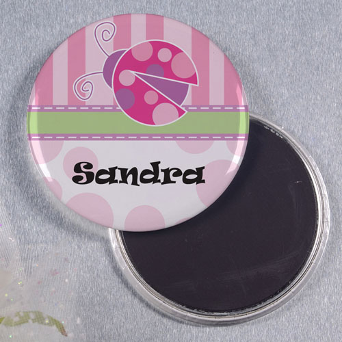 Pink Lady Bug Personalized Round Button Magnet