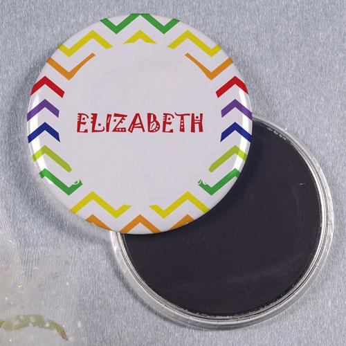 Rainbow Chevron Personalized Round Button Magnet