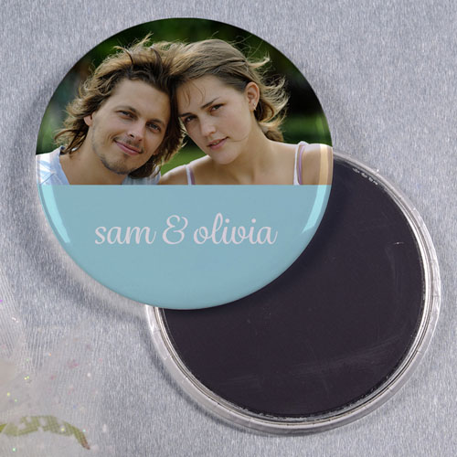 Ocean Save The Date Personalized Round Button Magnet