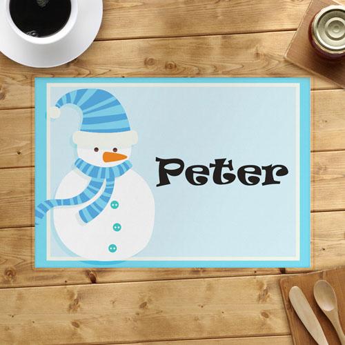 Light Blue Snowman Personalized Placemat