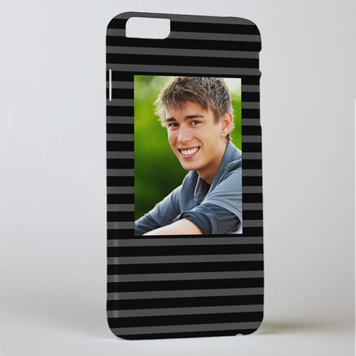 Black Grey Stripe Personalized Photo iPhone 6 + Case