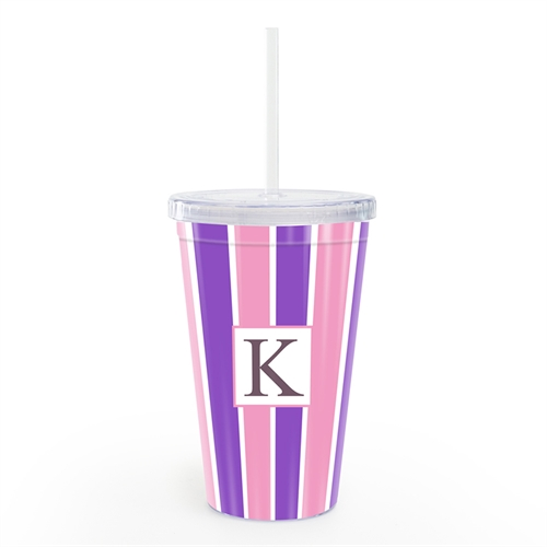 Pink Purple Stripe Personalized Acrylic Double Wall Tumbler