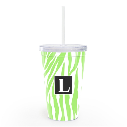 Lime Zebra Print Personalized Acrylic Double Wall Tumbler