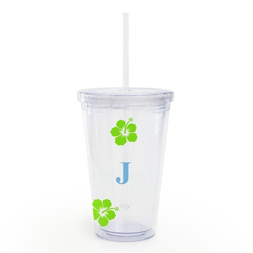 Design Your Own Green Hibiscus Flower Acrylic Tumbler