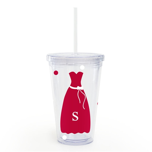 Red White Bridesmaid Dress Personalized Acrylic Tumbler