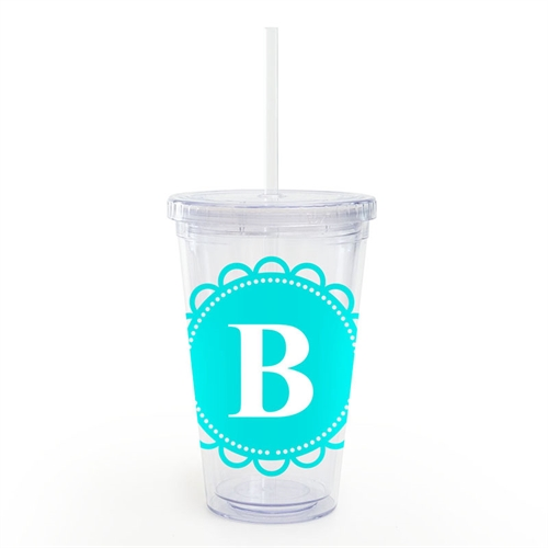 Aqua Lace Personalized Acrylic Double Wall Tumbler
