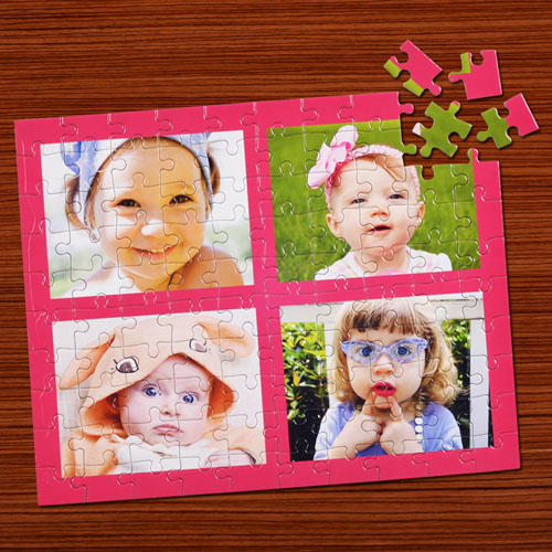 Personalized Pink Four Collage Jigsaw Puzzle