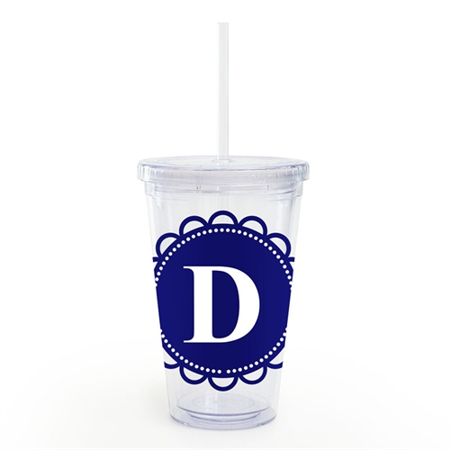 Navy Lace Personalized Acrylic Double Wall Tumbler