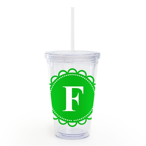 Green Lace Personalized Acrylic Double Wall Tumbler