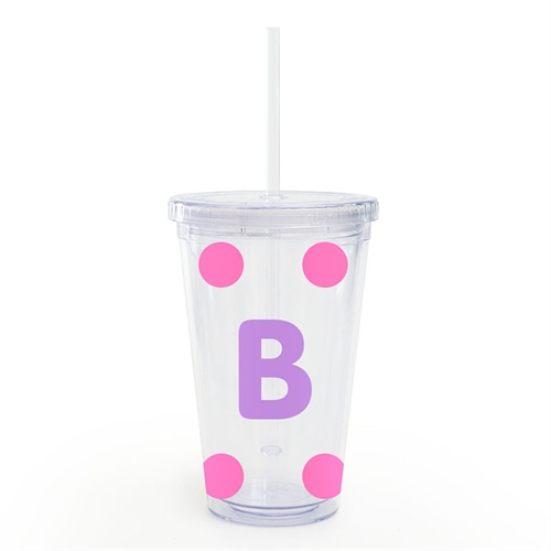 Design Your Own Pink Large Dot Insulated Tumbler