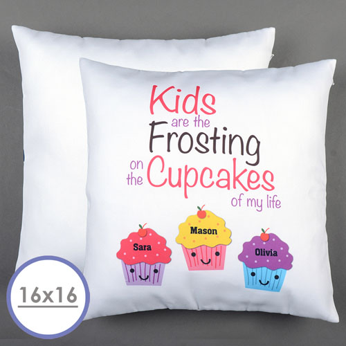 Three Cupcakes Personalized Pillow Cushion Cover 16