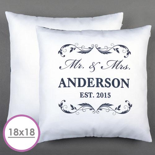 Mr. & Mrs. Personalized Pillow White 18X18 Cushion (No Insert)