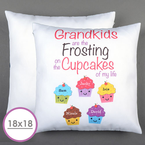 Five Cupcakes Personalized Large Cushion 18
