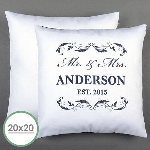 Mr. & Mrs. Personalized Pillow White 20X20 Cushion (No Insert)