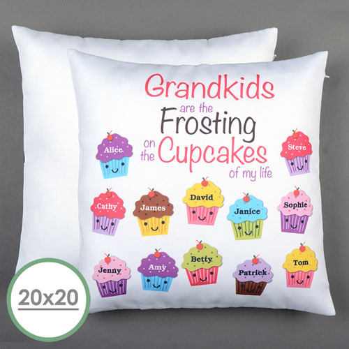 Twelve Cupcakes Personalized Large Pillow Cushion Cover 20