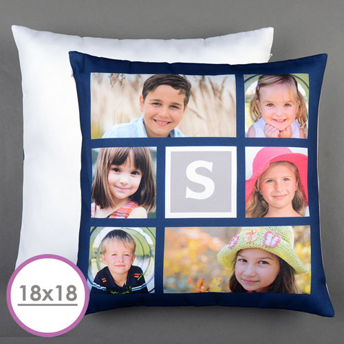 navy six collage personalized large cushion 18x18