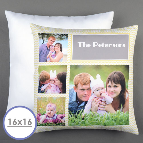 lemon chevron collage personalized pillow cushion cover