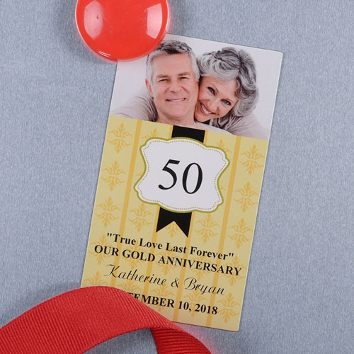 Gold Anniversary Plate Personalized Photo Magnet