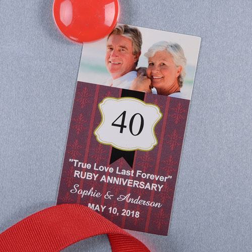 Red Anniversary Plate Personalized Photo Magnet