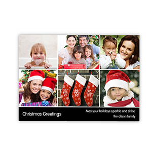 Personalized 6 Photo Very Merry  Black Invitation Holiday Cards