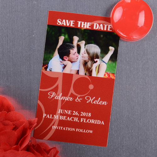 Create And Print Red Beach Grass Photo Save The Date Magnet 2x3.5 Card Size